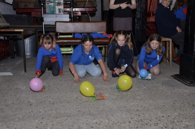 Girl Guides racing Balloon Cars at the Long Shop Museum